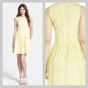 French Connection Eyelet Fit & Flare Yellow Dress